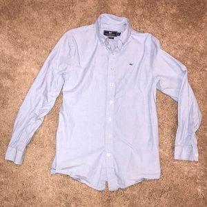 Vineyard Vines Boys Blue Whale Shirt - L
